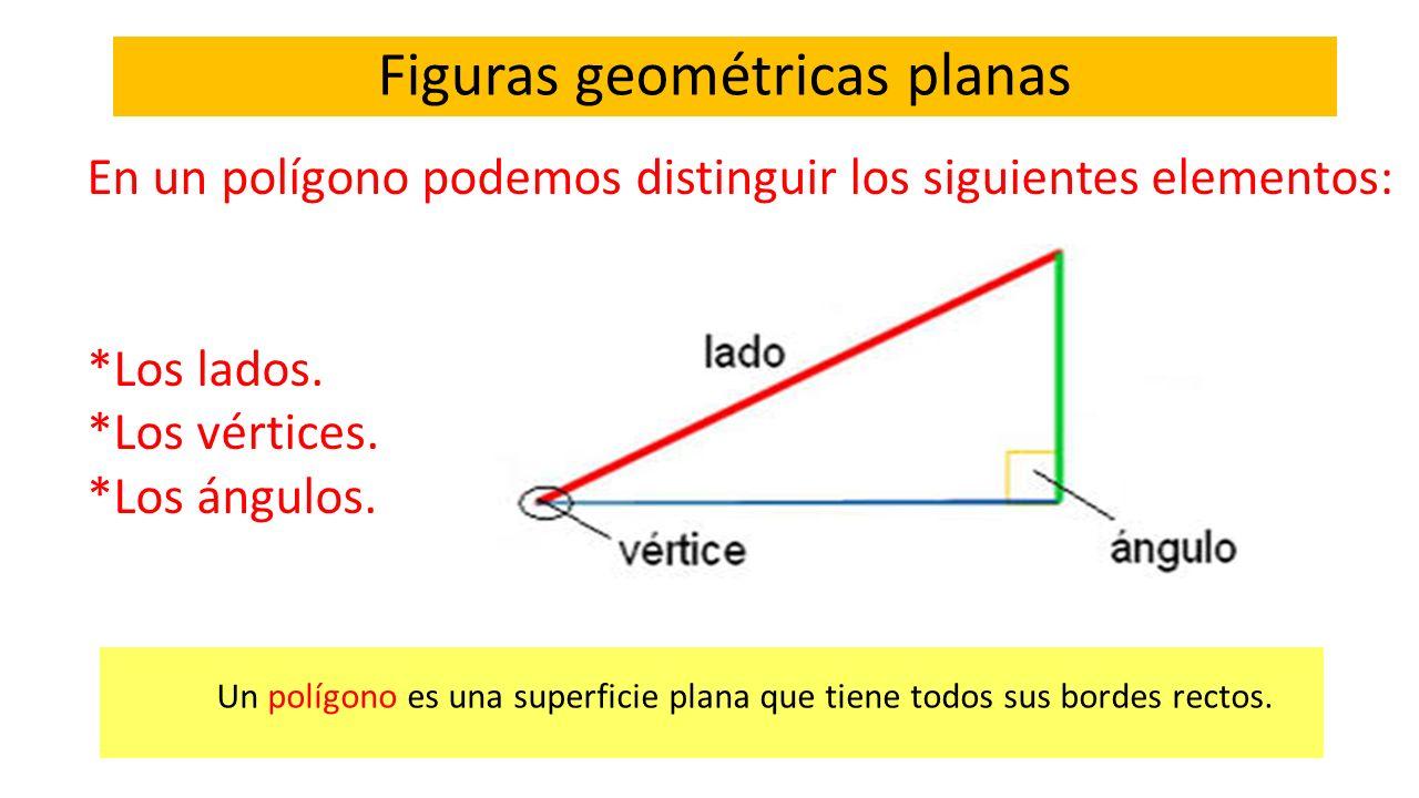 Figuras geométricas planas Un polígono es una superficie plana que tiene todos sus bordes rectos. En un polígono podemos distinguir los siguientes ele