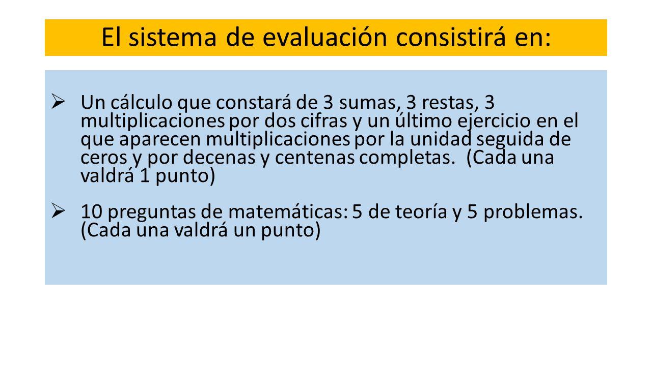 El sistema de evaluación consistirá en: Un cálculo que constará de 3 sumas, 3 restas, 3 multiplicaciones por dos cifras y un último ejercicio en el qu