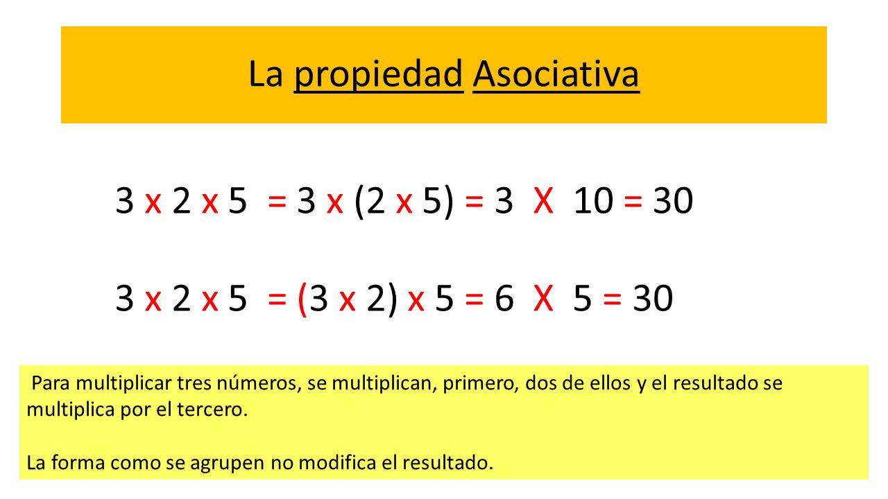 La propiedad Asociativa Para multiplicar tres números, se multiplican, primero, dos de ellos y el resultado se multiplica por el tercero. La forma com