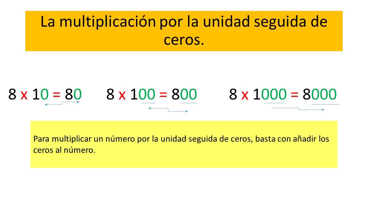 La multiplicación por la unidad seguida de ceros. Para multiplicar un número por la unidad seguida de ceros, basta con añadir los ceros al número. 8 x