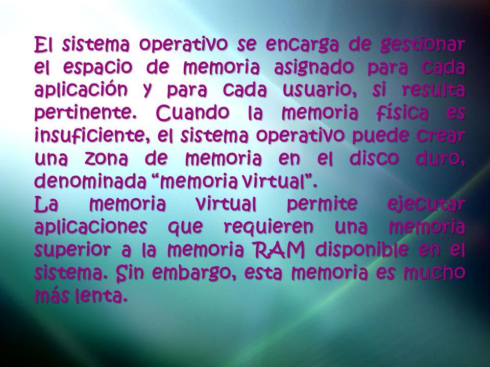 El sistema operativo se encarga de gestionar el espacio de memoria asignado para cada aplicación y para cada usuario, si resulta pertinente. Cuando la