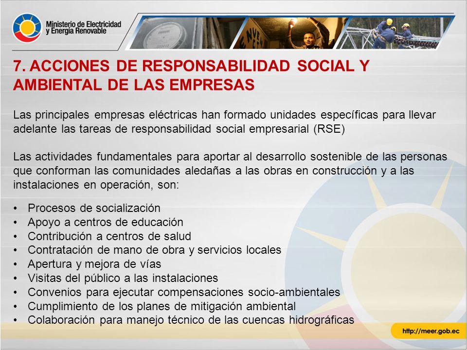 7. ACCIONES DE RESPONSABILIDAD SOCIAL Y AMBIENTAL DE LAS EMPRESAS Las principales empresas eléctricas han formado unidades específicas para llevar ade