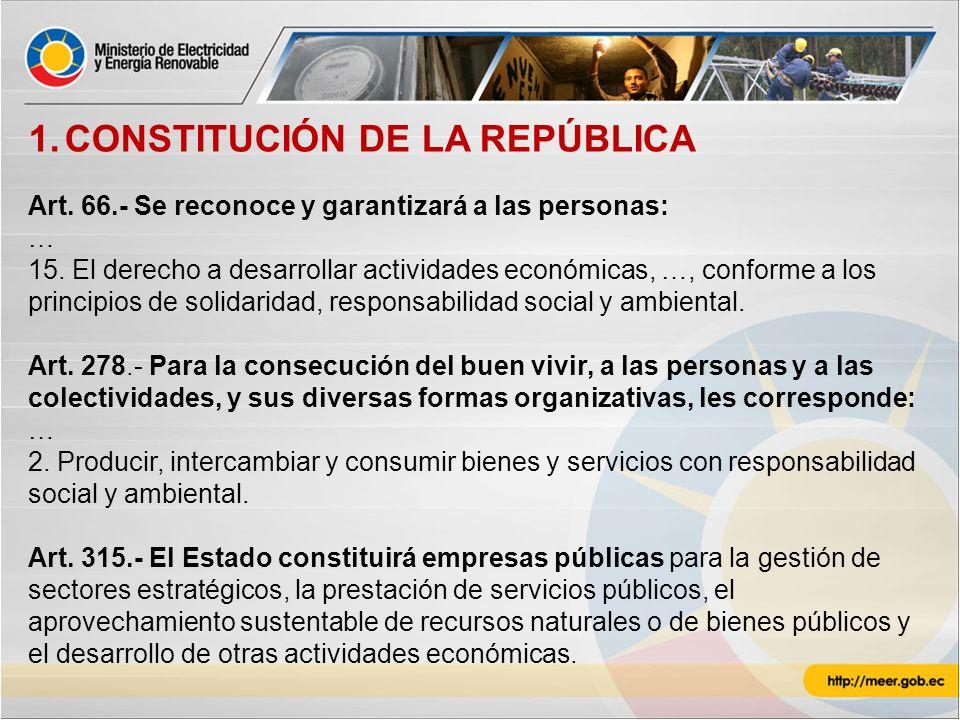 1.CONSTITUCIÓN DE LA REPÚBLICA Art. 66.- Se reconoce y garantizará a las personas: … 15. El derecho a desarrollar actividades económicas, …, conforme