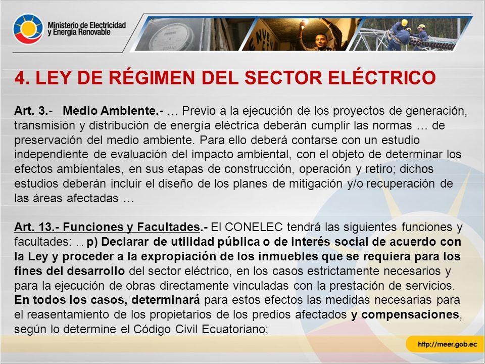 4. LEY DE RÉGIMEN DEL SECTOR ELÉCTRICO Art. 3.-Medio Ambiente.- … Previo a la ejecución de los proyectos de generación, transmisión y distribución de