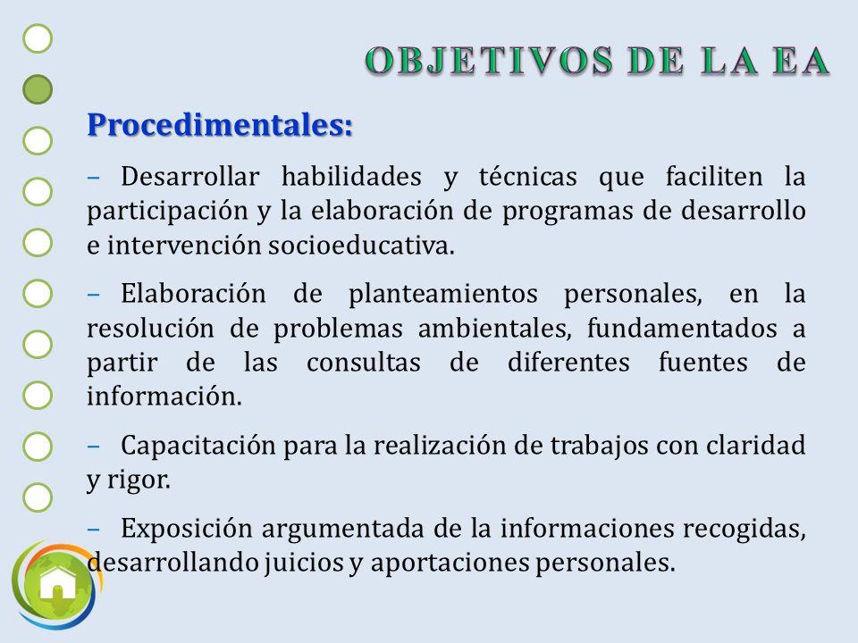 Procedimentales: –Desarrollar habilidades y técnicas que faciliten la participación y la elaboración de programas de desarrollo e intervención socioeducativa.