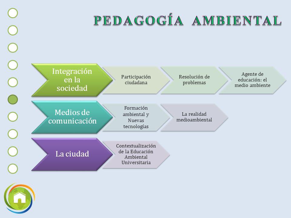 Integración en la sociedad Participación ciudadana Resolución de problemas Agente de educación: el medio ambiente Medios de comunicación Formación ambiental y Nuevas tecnologías La realidad medioambiental La ciudad Contextualización de la Educación Ambiental Universitaria