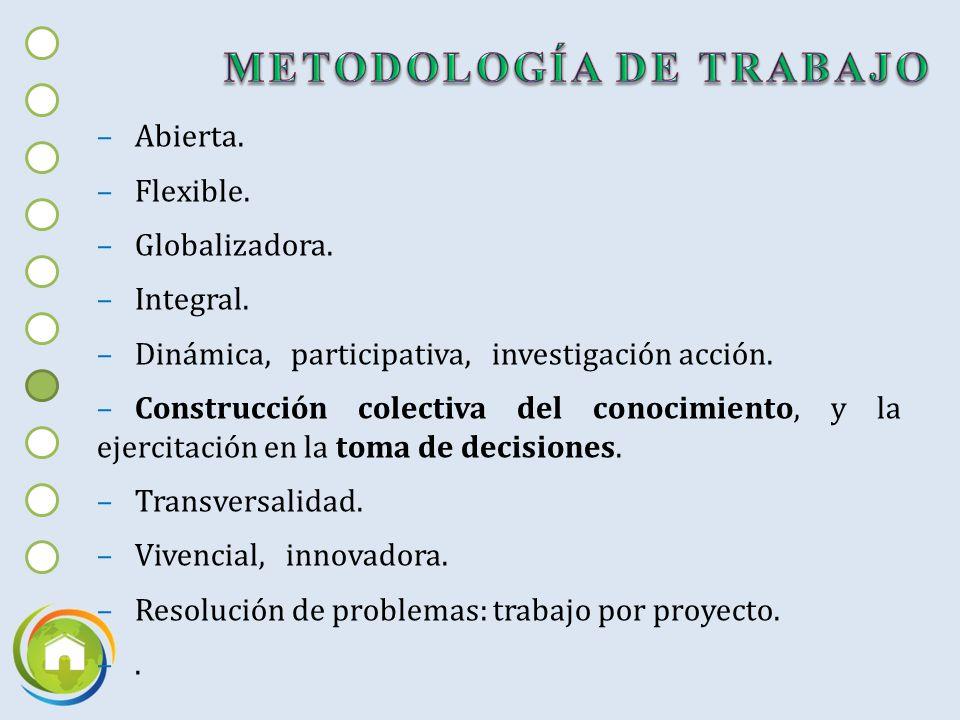 –Abierta.–Flexible. –Globalizadora. –Integral. –Dinámica, participativa, investigación acción.