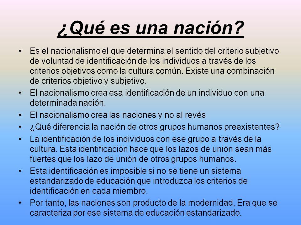 ¿Qué es una nación? Es el nacionalismo el que determina el sentido del criterio subjetivo de voluntad de identificación de los individuos a través de