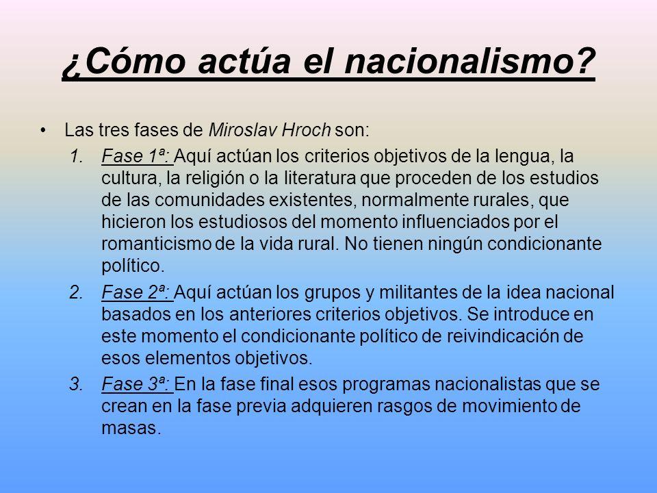 ¿Cómo actúa el nacionalismo? Las tres fases de Miroslav Hroch son: 1.Fase 1ª: Aquí actúan los criterios objetivos de la lengua, la cultura, la religió