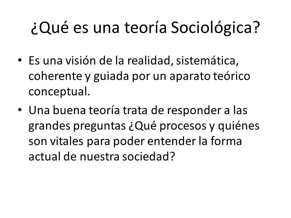 ¿Qué es una teoría Sociológica? Es una visión de la realidad, sistemática, coherente y guiada por un aparato teórico conceptual. Una buena teoría trat