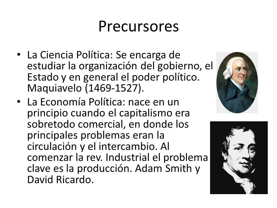 Precursores La Ciencia Política: Se encarga de estudiar la organización del gobierno, el Estado y en general el poder político. Maquiavelo (1469-1527)
