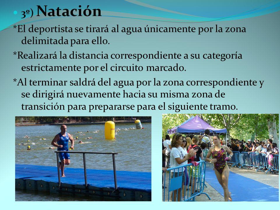 3º) Natación *El deportista se tirará al agua únicamente por la zona delimitada para ello. *Realizará la distancia correspondiente a su categoría estr