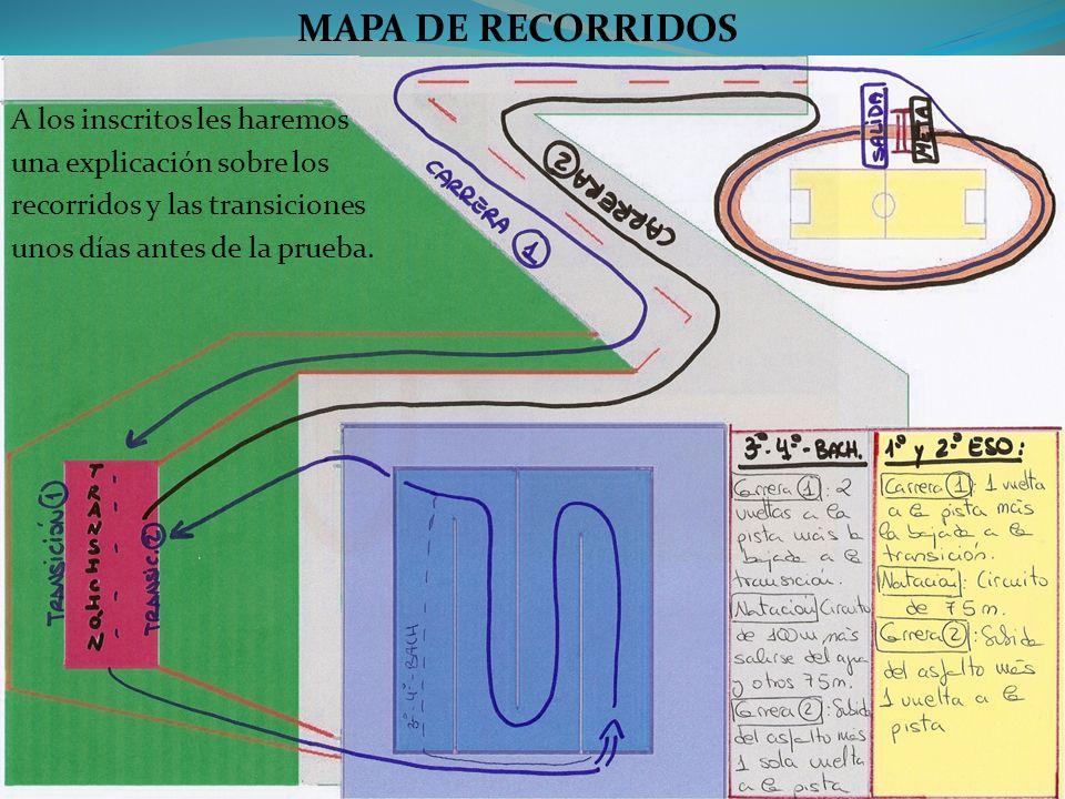 MAPA DE RECORRIDOS A los inscritos les haremos una explicación sobre los recorridos y las transiciones unos días antes de la prueba.
