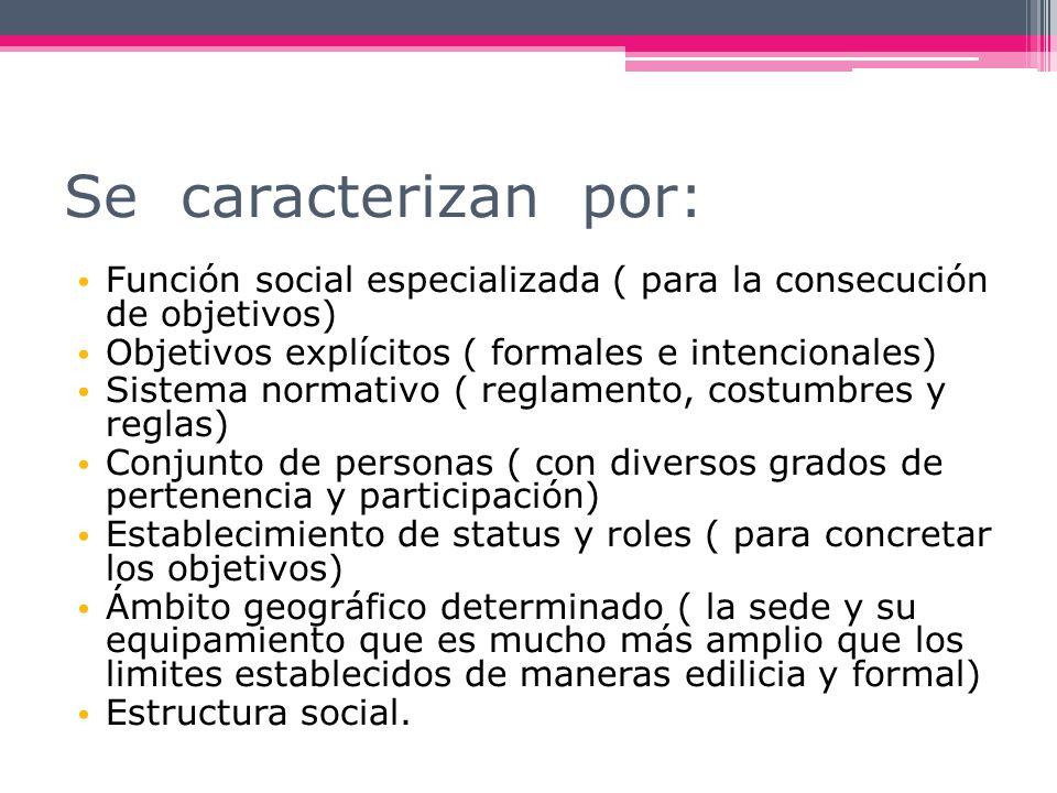 Se caracterizan por: Función social especializada ( para la consecución de objetivos) Objetivos explícitos ( formales e intencionales) Sistema normati