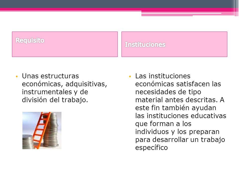 Unas estructuras económicas, adquisitivas, instrumentales y de división del trabajo. Las instituciones económicas satisfacen las necesidades de tipo m