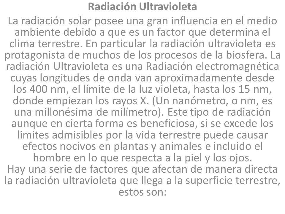 Radiación Ultravioleta La radiación solar posee una gran influencia en el medio ambiente debido a que es un factor que determina el clima terrestre.