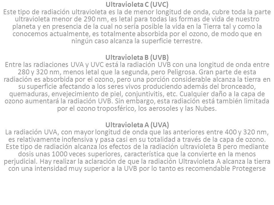 Ultravioleta C (UVC) Este tipo de radiación ultravioleta es la de menor longitud de onda, cubre toda la parte ultravioleta menor de 290 nm, es letal p