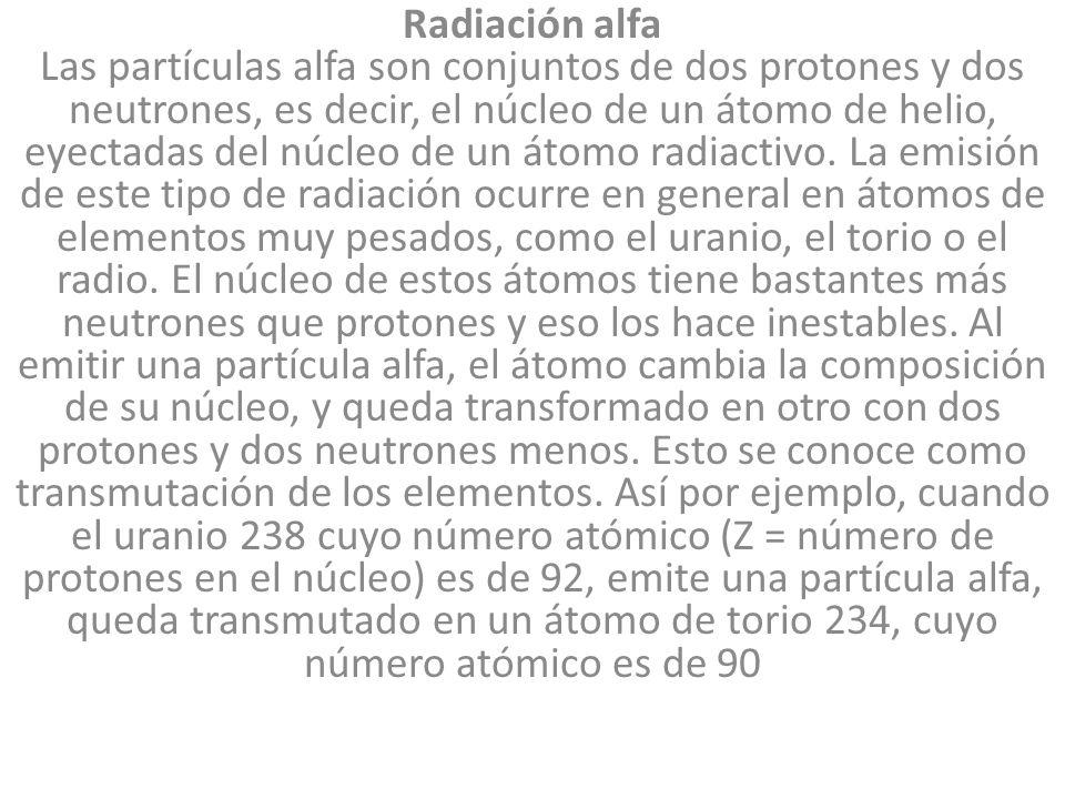 Radiación alfa Las partículas alfa son conjuntos de dos protones y dos neutrones, es decir, el núcleo de un átomo de helio, eyectadas del núcleo de un