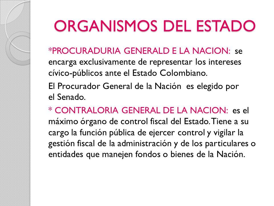 ORGANISMOS DEL ESTADO *PROCURADURIA GENERALD E LA NACION: se encarga exclusivamente de representar los intereses cívico-públicos ante el Estado Colomb