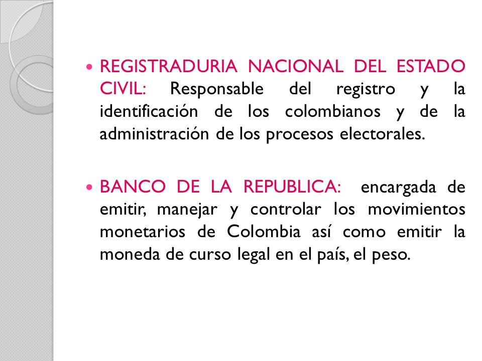 REGISTRADURIA NACIONAL DEL ESTADO CIVIL: Responsable del registro y la identificación de los colombianos y de la administración de los procesos electo