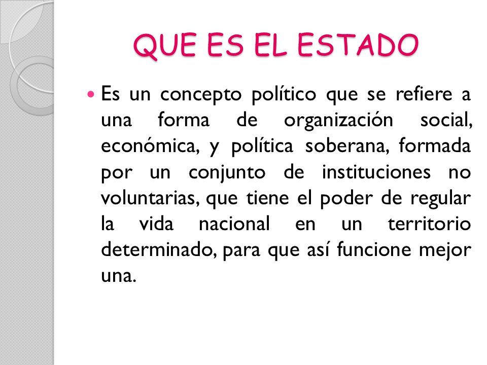 QUE ES EL ESTADO Es un concepto político que se refiere a una forma de organización social, económica, y política soberana, formada por un conjunto de