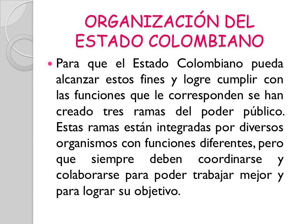 ORGANIZACIÓN DEL ESTADO COLOMBIANO Para que el Estado Colombiano pueda alcanzar estos fines y logre cumplir con las funciones que le corresponden se h