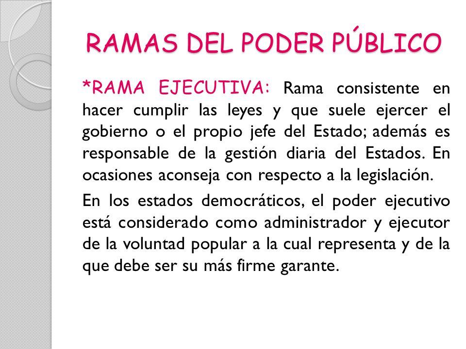 RAMAS DEL PODER PÚBLICO *RAMA EJECUTIVA: Rama consistente en hacer cumplir las leyes y que suele ejercer el gobierno o el propio jefe del Estado; adem