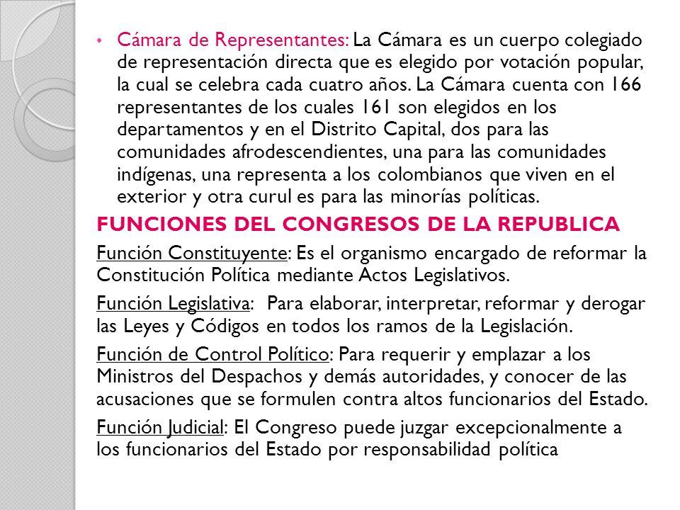 Cámara de Representantes: La Cámara es un cuerpo colegiado de representación directa que es elegido por votación popular, la cual se celebra cada cuat