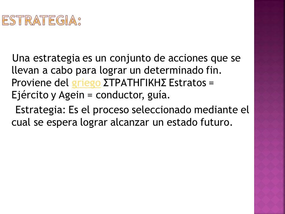 Una estrategia es un conjunto de acciones que se llevan a cabo para lograr un determinado fin.