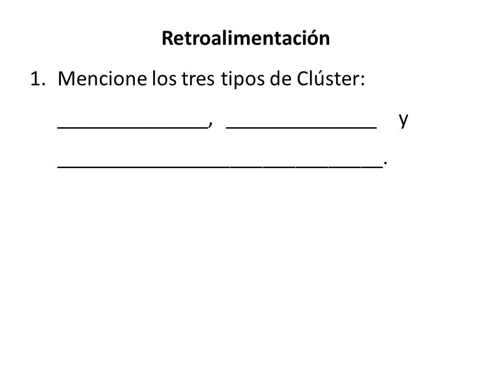 Retroalimentación 1.Mencione los tres tipos de Clúster: ______________, ______________ y ______________________________. transnacionales de superviven