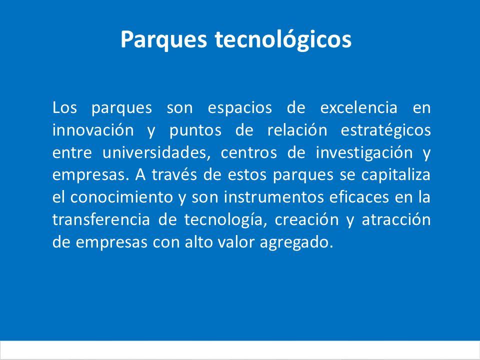 Parques tecnológicos Los parques son espacios de excelencia en innovación y puntos de relación estratégicos entre universidades, centros de investigación y empresas.