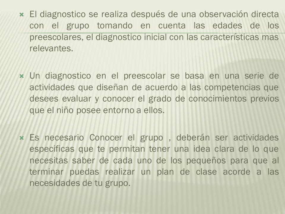 El diagnostico se realiza después de una observación directa con el grupo tomando en cuenta las edades de los preescolares, el diagnostico inicial con