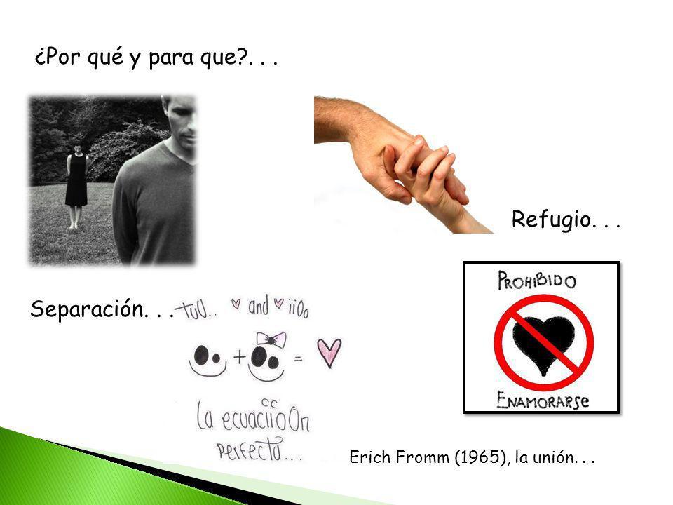 ¿Por qué y para que?... Separación... Refugio... Erich Fromm (1965), la unión...