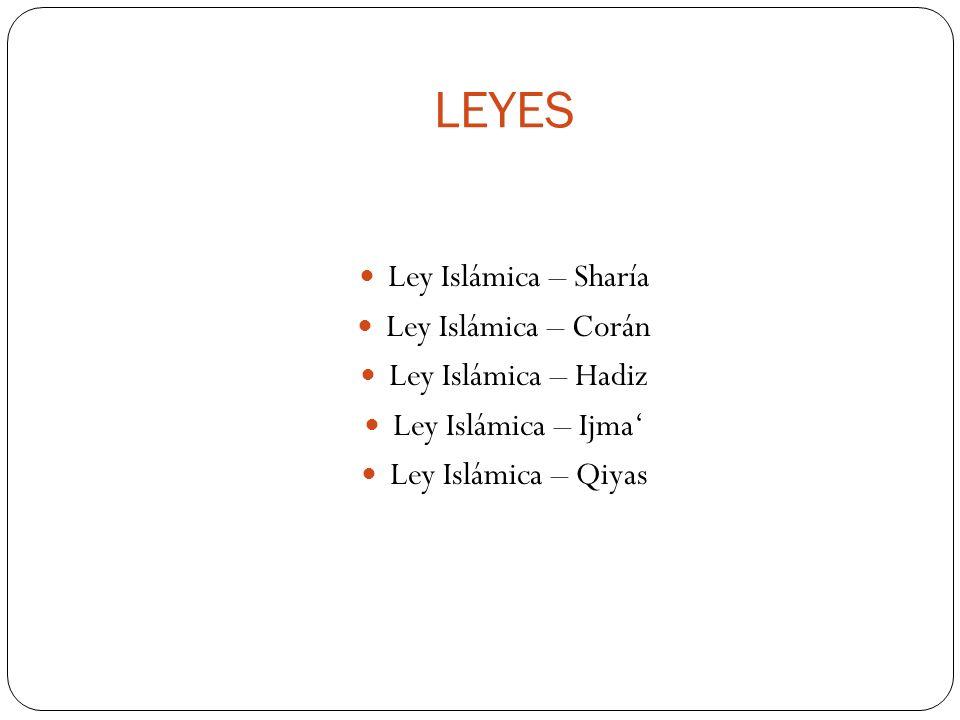 LEYES Ley Islámica – Sharía Ley Islámica – Corán Ley Islámica – Hadiz Ley Islámica – Ijma Ley Islámica – Qiyas