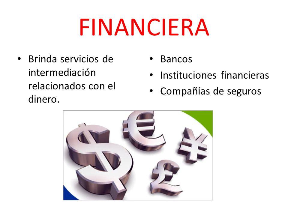 FINANCIERA Brinda servicios de intermediación relacionados con el dinero. Bancos Instituciones financieras Compañías de seguros