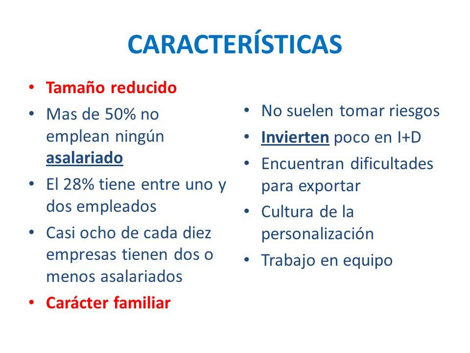 CARACTERÍSTICAS Tamaño reducido Mas de 50% no emplean ningún asalariado El 28% tiene entre uno y dos empleados Casi ocho de cada diez empresas tienen