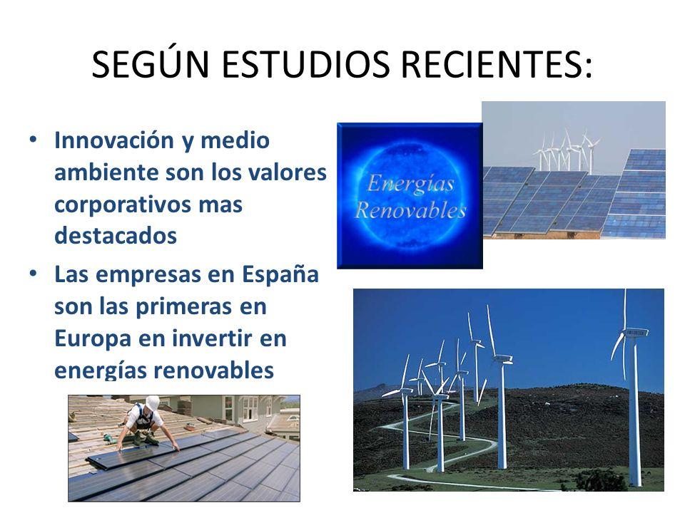 SEGÚN ESTUDIOS RECIENTES: Innovación y medio ambiente son los valores corporativos mas destacados Las empresas en España son las primeras en Europa en