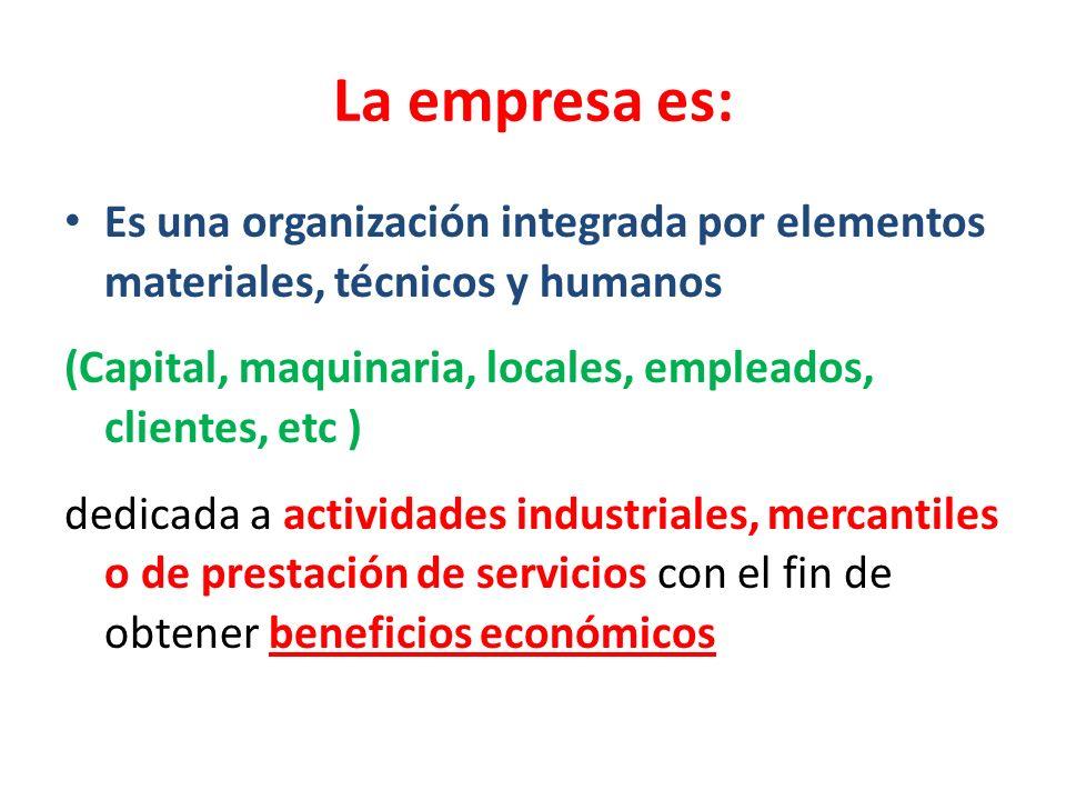 La empresa es: Es una organización integrada por elementos materiales, técnicos y humanos (Capital, maquinaria, locales, empleados, clientes, etc ) de