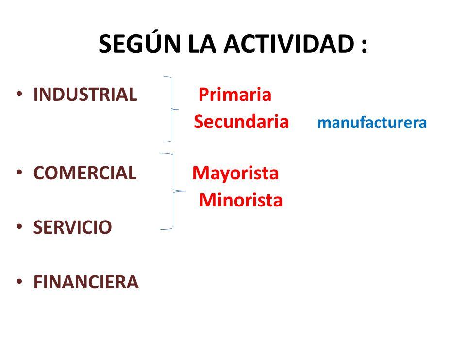 SEGÚN LA ACTIVIDAD : INDUSTRIAL Primaria Secundaria manufacturera COMERCIAL Mayorista Minorista SERVICIO FINANCIERA