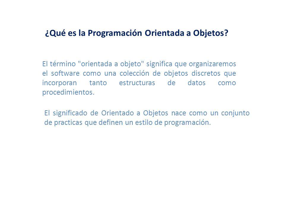¿Qué es la Programación Orientada a Objetos? El término