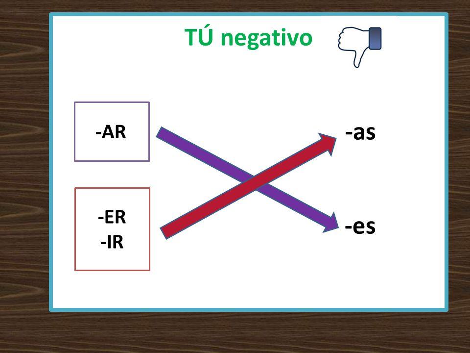 TÚ negativo -as -es -AR -ER -IR