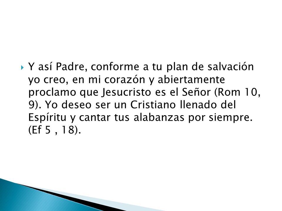 Y así Padre, conforme a tu plan de salvación yo creo, en mi corazón y abiertamente proclamo que Jesucristo es el Señor (Rom 10, 9).