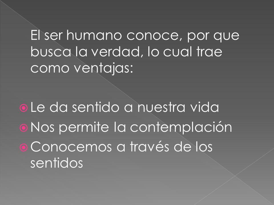 El ser humano conoce, por que busca la verdad, lo cual trae como ventajas: Le da sentido a nuestra vida Nos permite la contemplación Conocemos a travé