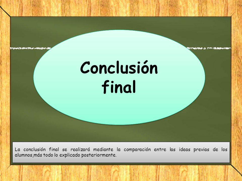 La conclusión final se realizará mediante la comparación entre las ideas previas de los alumnos,más todo lo explicado posteriormente. Conclusión final