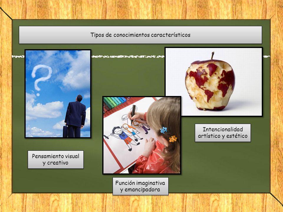 Tipos de conocimientos característicos Pensamiento visual y creativo Función imaginativa y emancipadora Intencionalidad artístico y estético