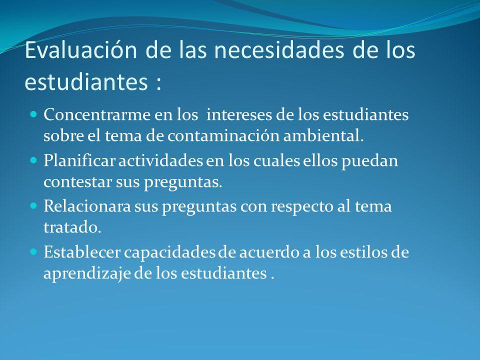 Evaluación de las necesidades de los estudiantes : Concentrarme en los intereses de los estudiantes sobre el tema de contaminación ambiental. Planific