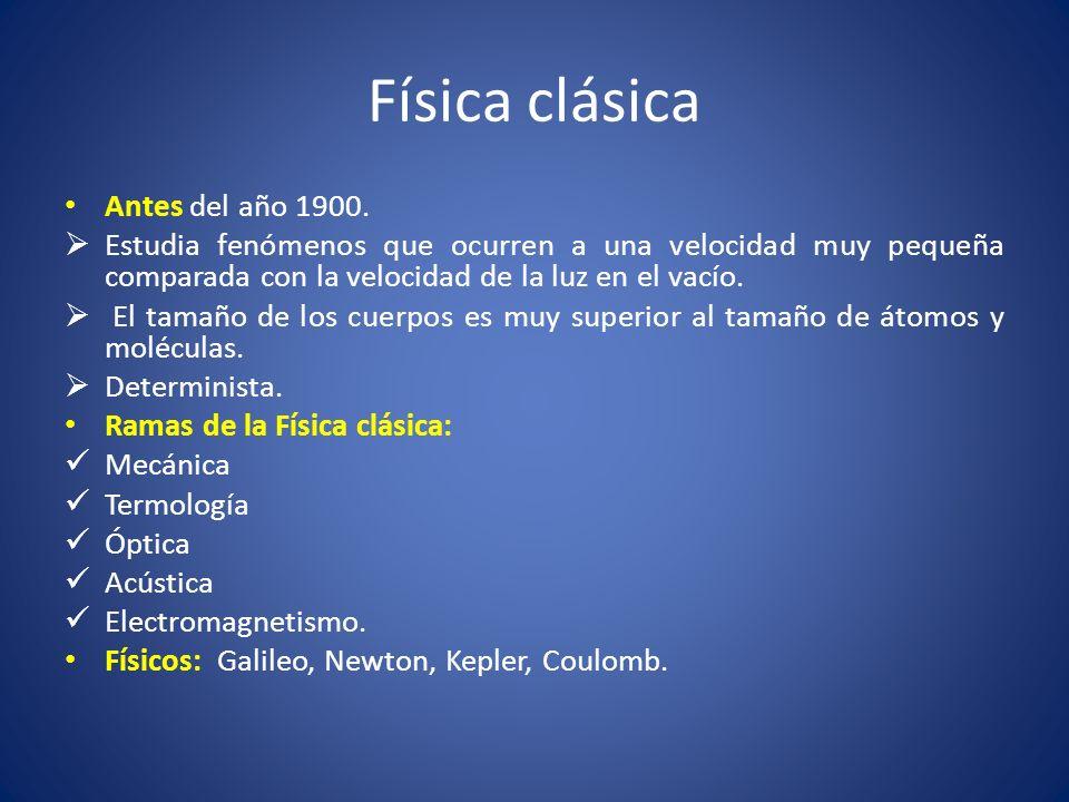 Física clásica Antes del año 1900.