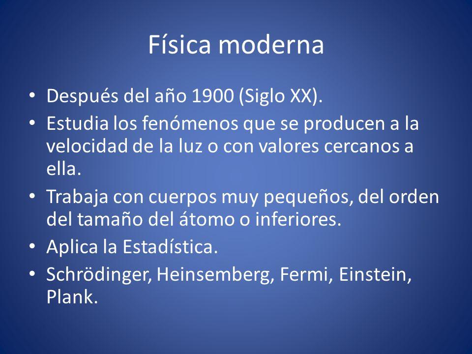 Física moderna Después del año 1900 (Siglo XX). Estudia los fenómenos que se producen a la velocidad de la luz o con valores cercanos a ella. Trabaja