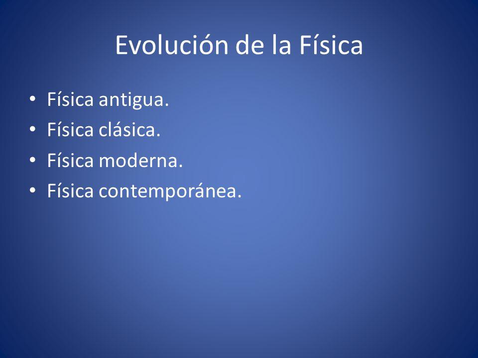 Evolución de la Física Física antigua. Física clásica. Física moderna. Física contemporánea.