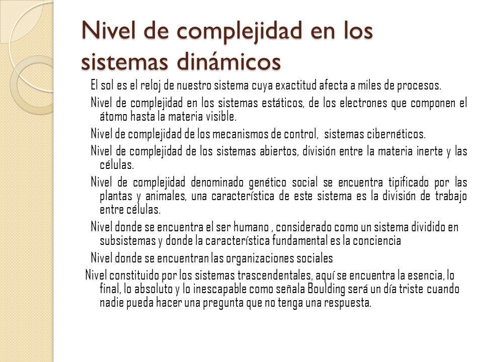 Nivel de complejidad en los sistemas dinámicos El sol es el reloj de nuestro sistema cuya exactitud afecta a miles de procesos. Nivel de complejidad e